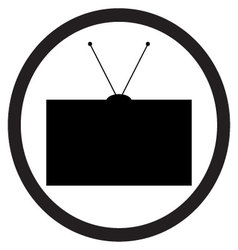 Tv icon black white vector image