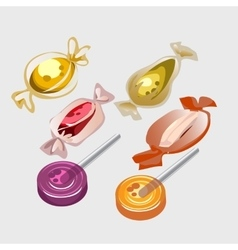 Different sweet candy lollipops vector