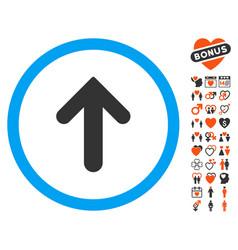 Arrow up icon with love bonus vector