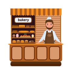 Bakery products and elite bread sweets seller vector