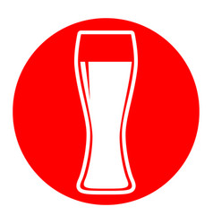 beer glass sign white icon in red circle vector image