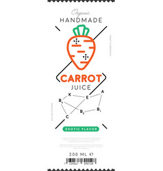 carrot juice label in trendy linear style vector image vector image