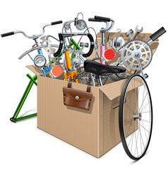 Carton box with bicycle spares vector