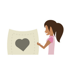 Cartoon woman holding paper heart romance vector