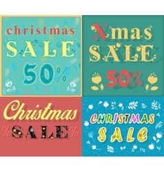 Christmas cards for retail artistic font vector