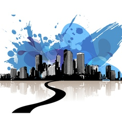 City skyscrapers with abstract blue clouds vector