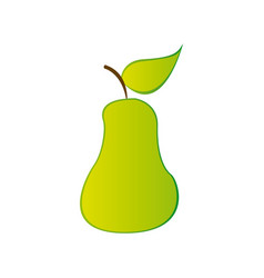 Colorful silhouette green pear fruit food vector