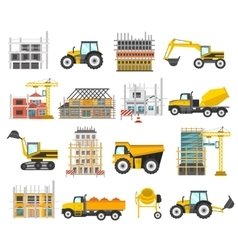 Construction flat elements set vector