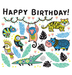 cute happy birthday card with cartoon animals in vector image vector image