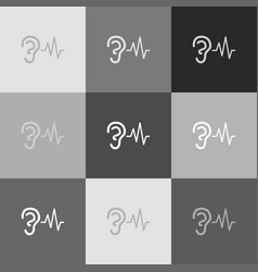 Ear hearing sound sign grayscale version vector