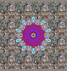Ethnic mandalas doodle background circles gray vector
