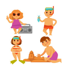 Four children having fun on hot summer vacations vector
