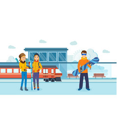 Friends man with skis at railway winter station vector