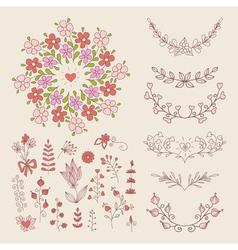 Hand drawn vintage floral elements vector