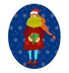 happy girl holding a gift in her hands vector image vector image