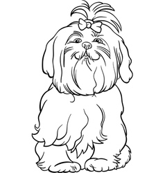 Maltese dog cartoon for coloring book vector
