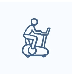 Man training on exercise bike sketch icon vector image vector image