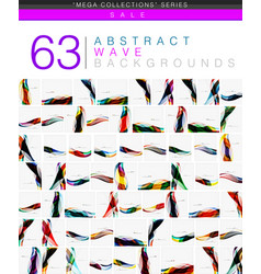 mega collection of wave abstract backgrounds vector image vector image
