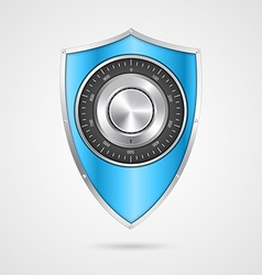Protection blue shield with the combination lock vector