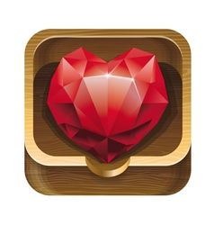 red diamond heart in wooden box vector image