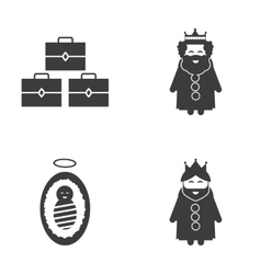 Set of flat icon black and white style biblical vector