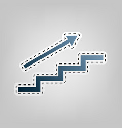 Stair with arrow blue icon with outline vector