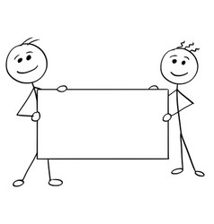 stick man cartoon of two men holding a large vector image vector image