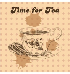 Tea mug and cake vintage style vector image