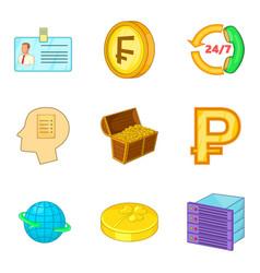 Thrift icons set cartoon style vector