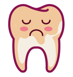 Tooth sad character isolated icon vector