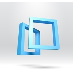 Two blue rectangular 3D frames vector image vector image