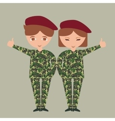 two kids children wearing military uniform army vector image vector image