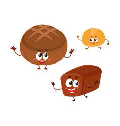 Two smiling funny whole wheat dark brown bread vector