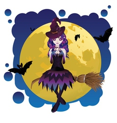 Witch and full moon vector