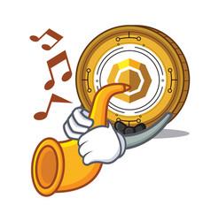 With trumpet komodo coin mascot cartoon vector