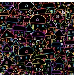Colorful city seamless pattern for your design vector image