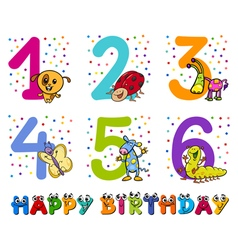 Birthday greeting cards collection vector