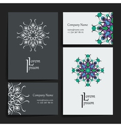 Set of design templates business card with floral vector