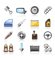 Detailed car parts icons vector image