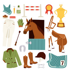 Flat color jockey icons set with equipment for vector