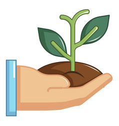 hand holding green sprout icon cartoon style vector image