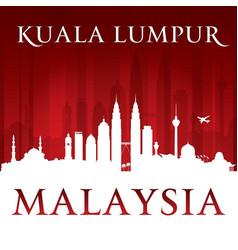 Kuala lumpur malaysia city skyline silhouette red vector