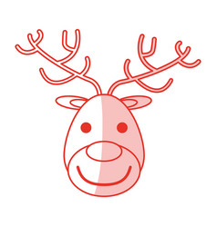 Red shading silhouette of face of reindeer vector
