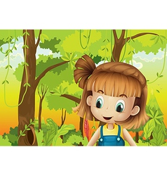 A cute little girl in the forest vector