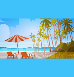 Sea shore beach with deck chairs beautiful seaside vector