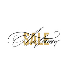 Autumn sale gold glitter sign in white background vector