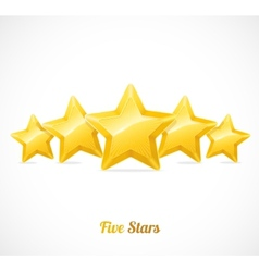 Star rating with five gold stars concept vector