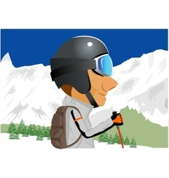 Skier standing amongst snow capped mountains vector