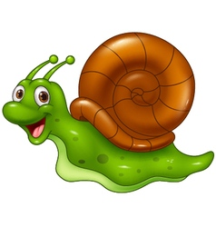 Cute cartoon snail on white background vector