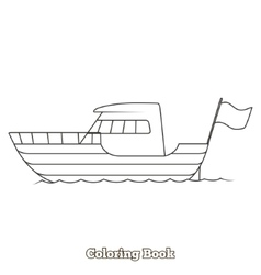 Yacht cartoon coloring book vector